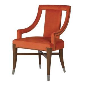 Orange cut back velvet dining chair