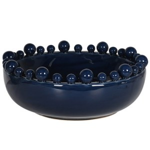 Decorative navy ceramic gloss bowl with ball detail
