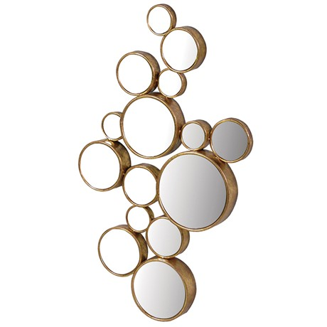 Gold ornate circle multi mirror
