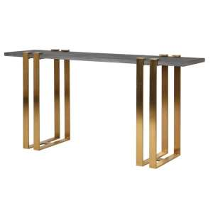 Concrete top console table with brushed gold frame