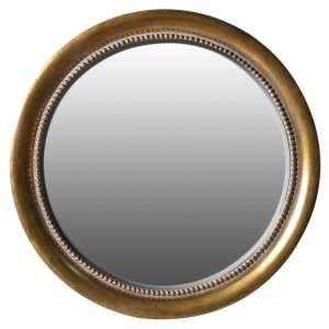 Round gold detailed wall mirror