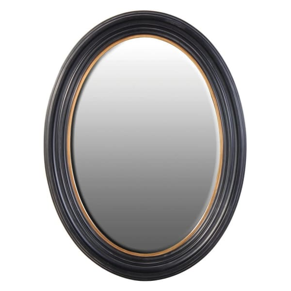 Black oval mirror with gold trim