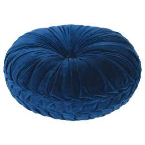 Blue round ruffle effect cushion