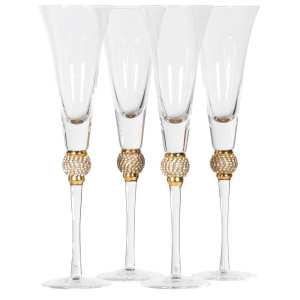 Gold diamanté ball crystal champagne flutes (set of 4)