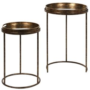 Gold mirrored tray tables (set of 2)