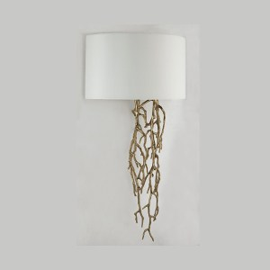 Brass twig design wall light with shade