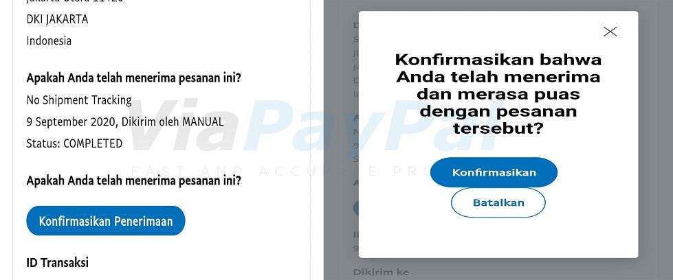 Konfirmasi penerimaan saldo PayPal