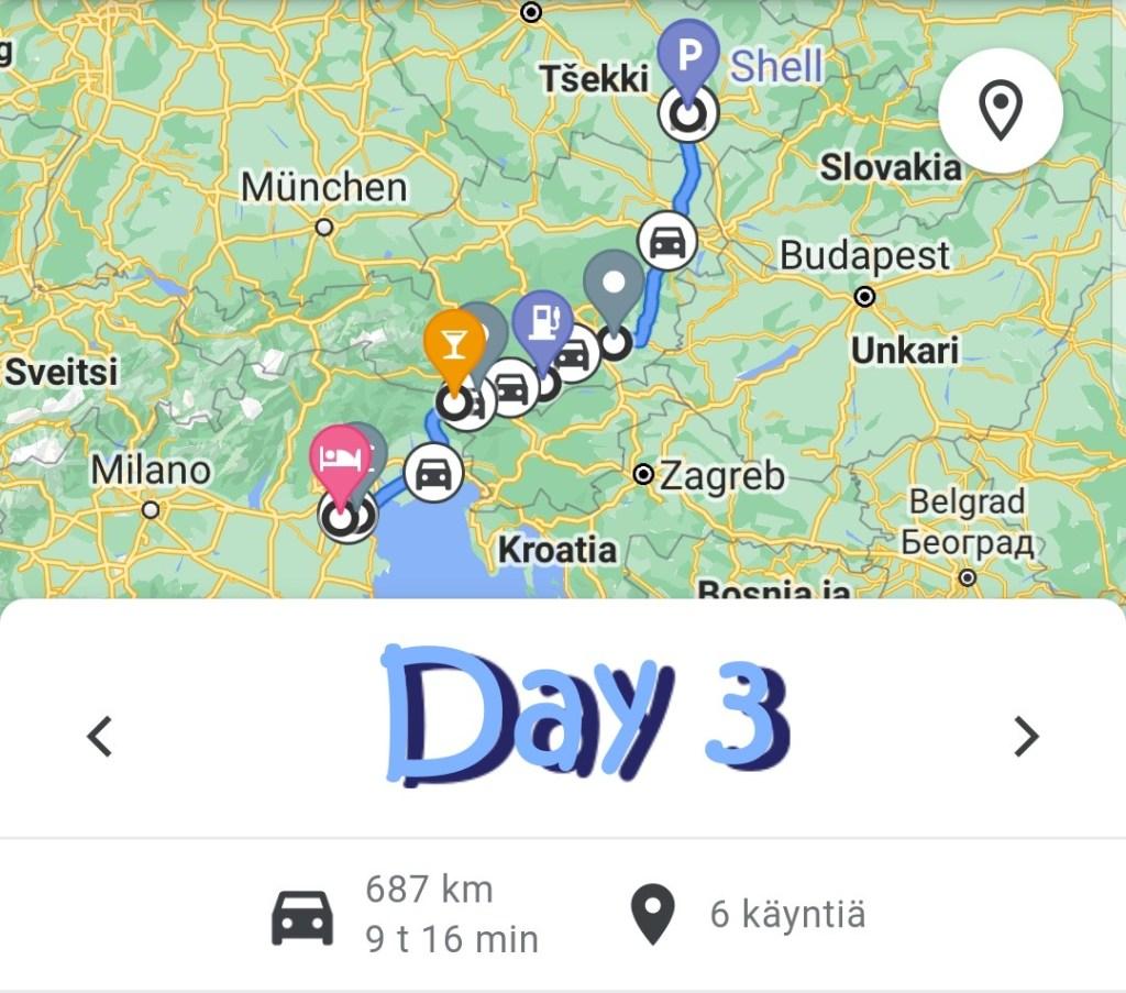 Road trip Italia - Itävalta - Tsekki, Day 3 kartta