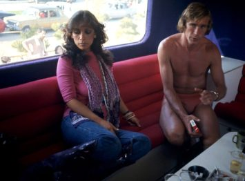 Fashion Designer Gail Berry posed in 1976 with James Hunt 6901AB Credit Allan Ballard/scopefeatures