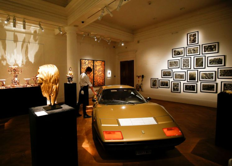 A 1977 Gold Ferrari on show during a photocall for 'The Midas Touch' collection at Sotheby's in London