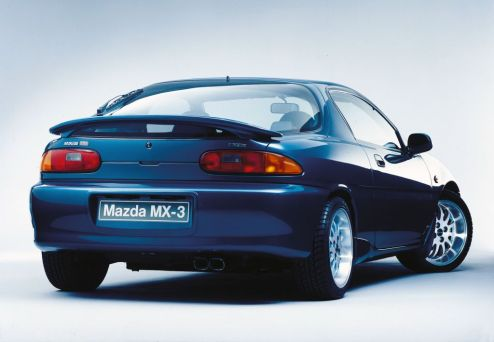 Mazda MX-3 blue with alloys