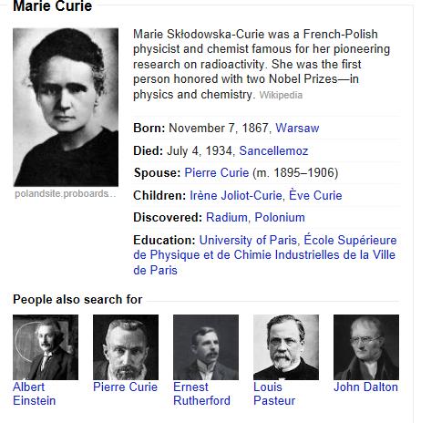 Resultados de Marie Curie en Google.com