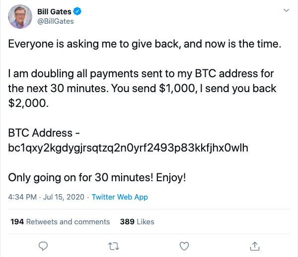 Gates Twitter Hack