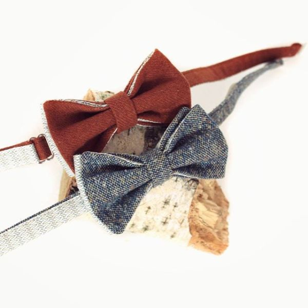 галстук-бабочка твид терракотовый, голубой. меланж, бабочка