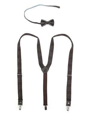 Подтяжки и галстук-бабочка из коричневого твида