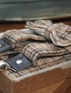 Подтяжки и галстук-бабочка из твида