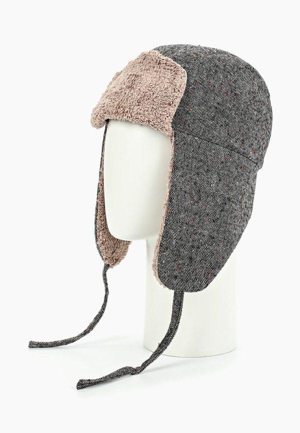 Шапка-ушанка твид серый мужская женская