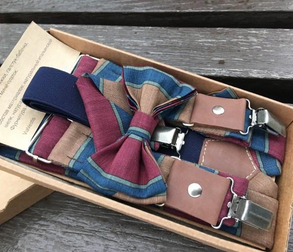 Дизайнерские Подтяжки мужские, галстук-бабочка и карманный платок