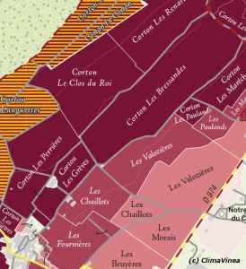 Carte de Corton (c) Climavinea