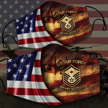 Us Air Force Proudly Served, Military Face Mask, American Flag, Gifts For Veteran Custom Veteran Face Mask All Over Printed