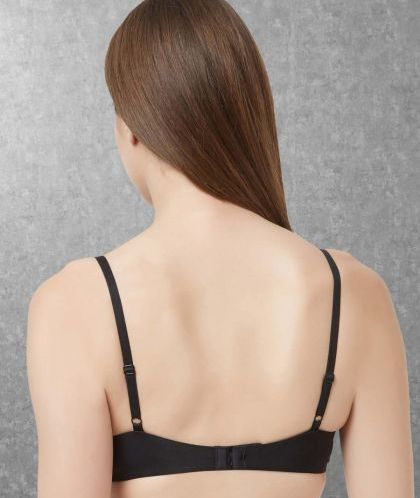 Cotton Semi-Covered Padded Non-Wired Black Bra