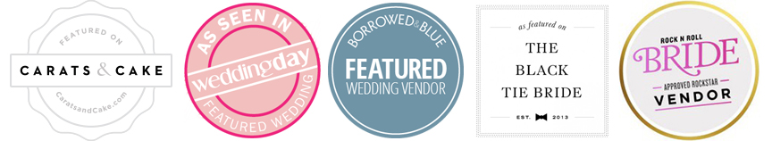 Vendor acceptance badges wedding magazines and websites