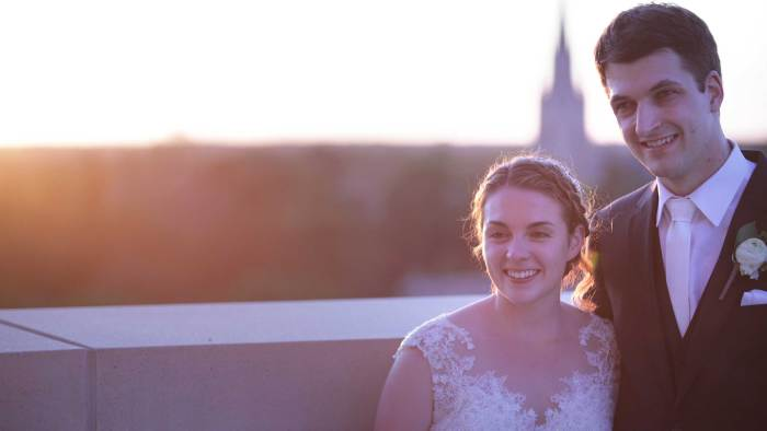 sometimes hard for a brides dad to find someone good enough for his little girl. Katie and Brett met and fell in love at Notre Dame!