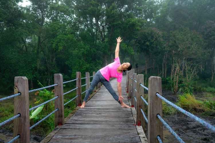 peaceful woman practicing trikonasana pose in nature