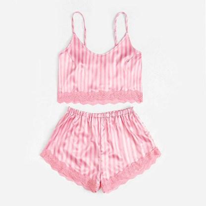 Cauti o Pijama de Dama Roz Moderna? Comanda Acum Pijama Dama Scurta Roz Pudra Saten Dantela Online VIBRANTE Livrare Rapida