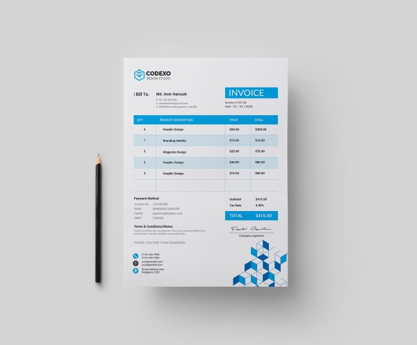 Cubes Professional Corporate Invoice Template