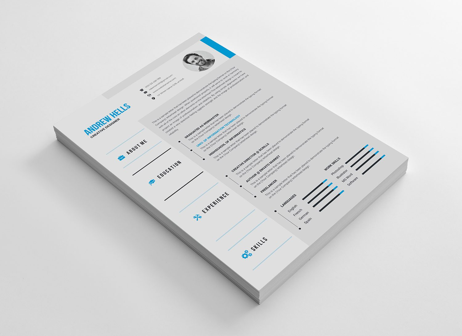 Vector Resume Cv Template Vibrant Graphics Graphic Templates Store