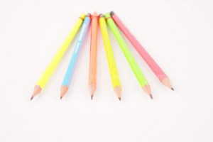 Color pencils on white stock photo