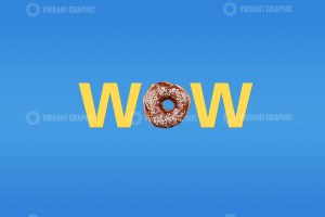 Colorful word Wow on blue