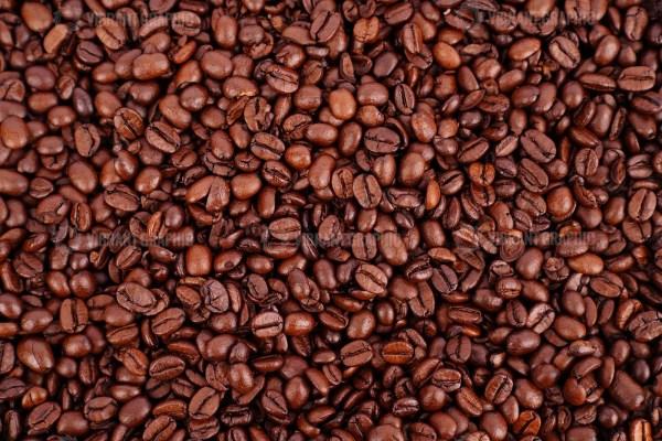Dark roast coffee beans stock image