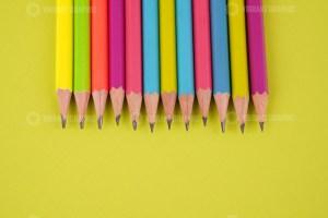 Pencils on Bright Green