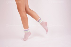 White nylon socks stock photo