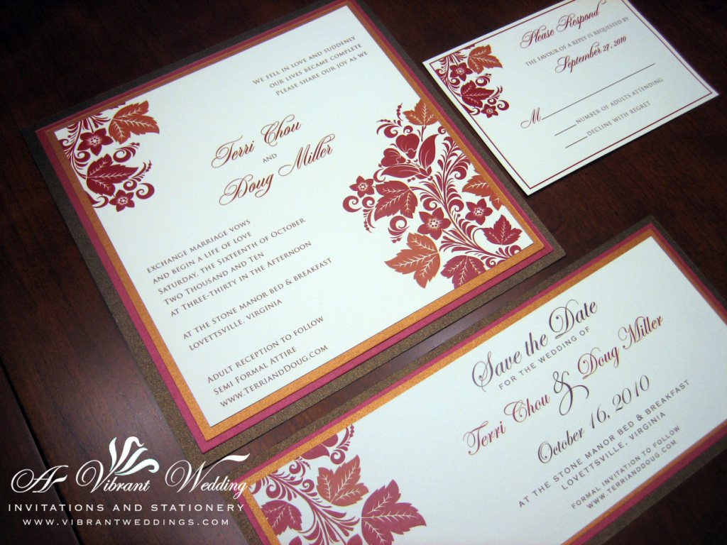 red and brown wedding invitation  A Vibrant Wedding