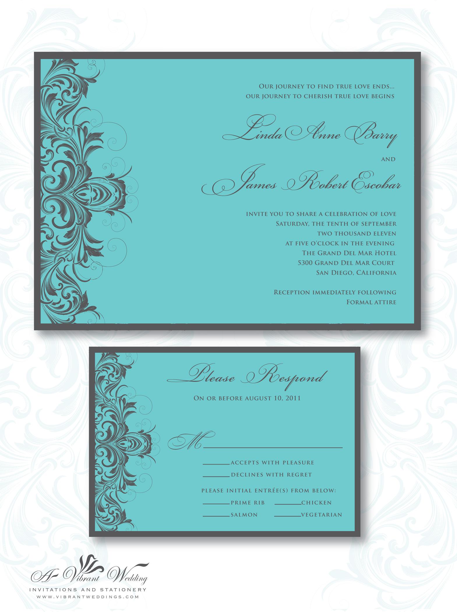 gray wedding invitation  A Vibrant Wedding Invitations