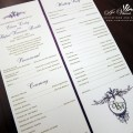 Ceremony programs purple and gold with vintage floral scroll