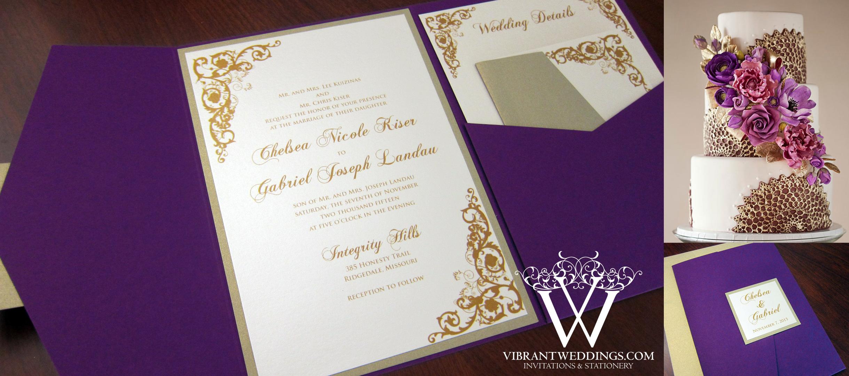 Purple And Champagne Wedding Invitation – A Vibrant Wedding