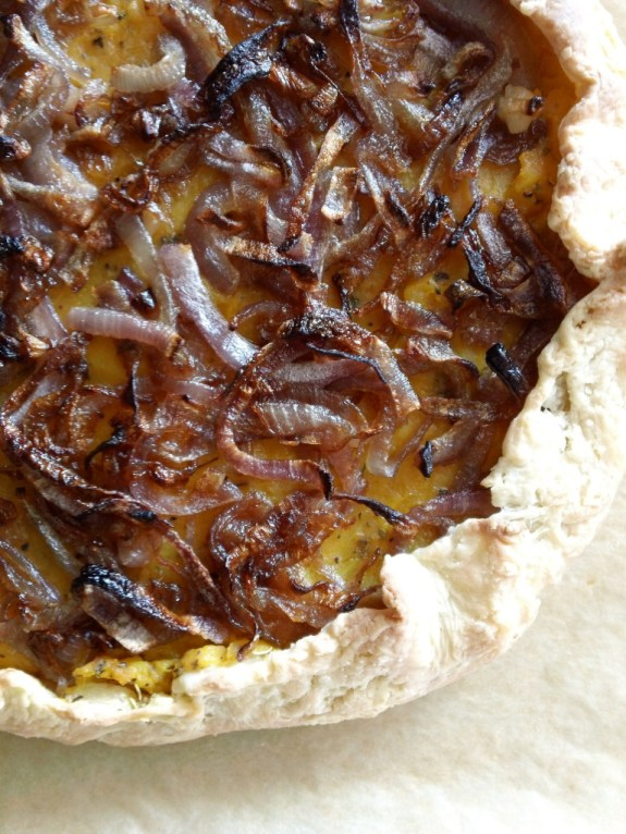 a butternut squash & caramelized onion galette
