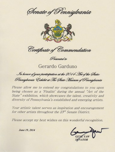 Certificate of Commendation. Senate of PA 2014 Art of the State: Pennsylvania 2014. At The State Museum of Pennsylvania.