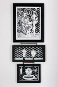 Magic Kingdom (Triptych) Ink, Acrylic paint, Pencil, Clay / Paper 29 x 12 x 1 in 2014 $470