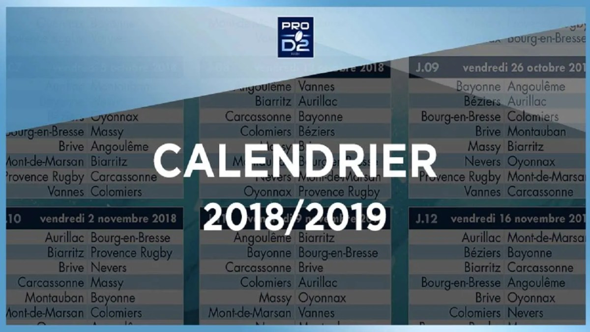 ProD2-Le calendrier de la saison 2018-2019