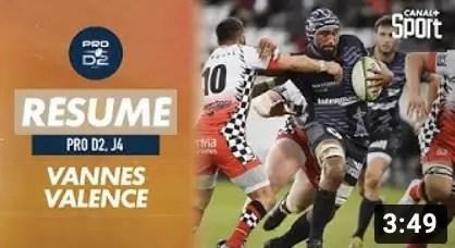 Rugby Pro D2 ( Canal + ) : Le résumé de Vannes / Valence