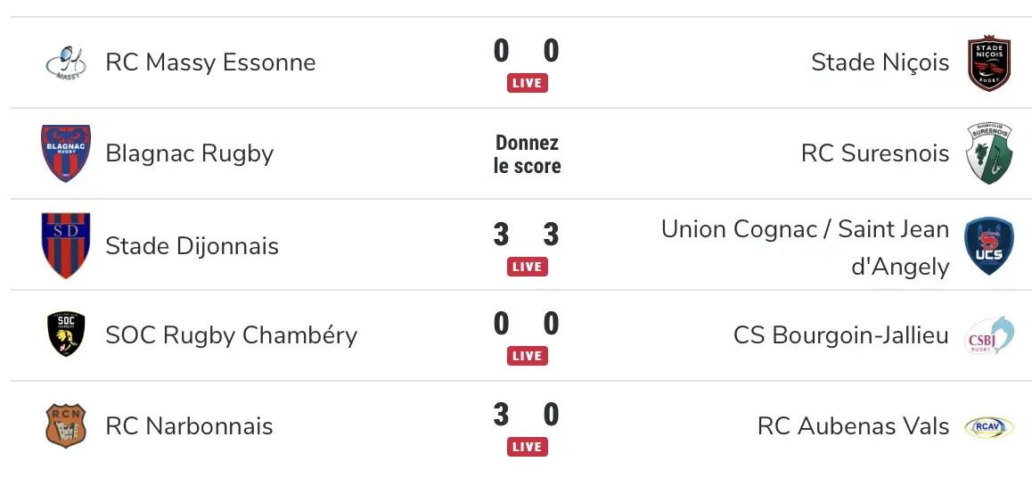 Rugby Nationale : Tous les résultats en direct