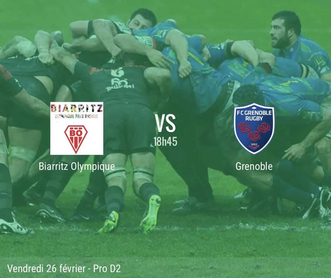 Rugby pro D2 : Biarritz – Grenoble en direct