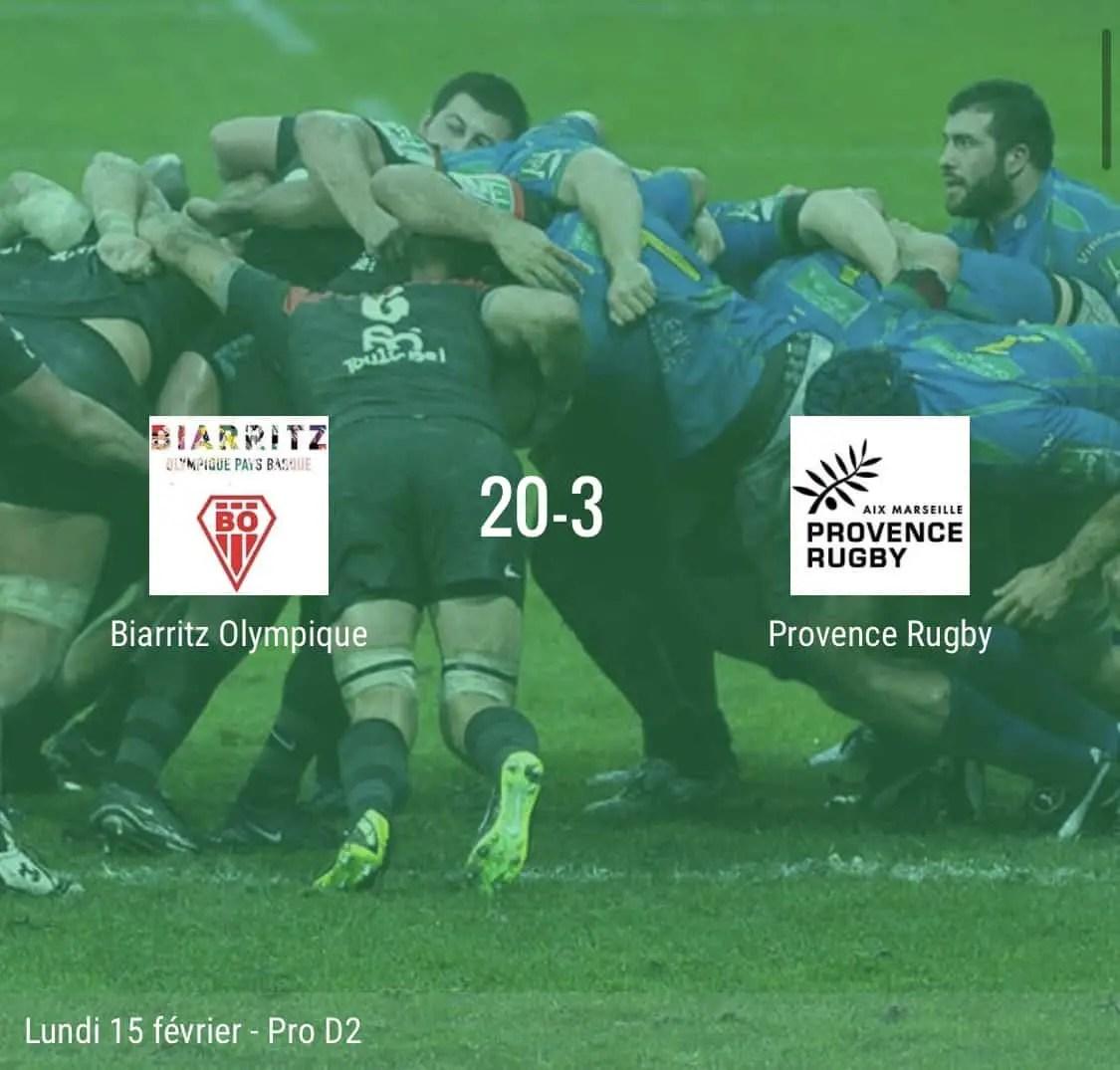 Rugby pro d2 : Biarritz – Provence rugby : le score à la mi-temps