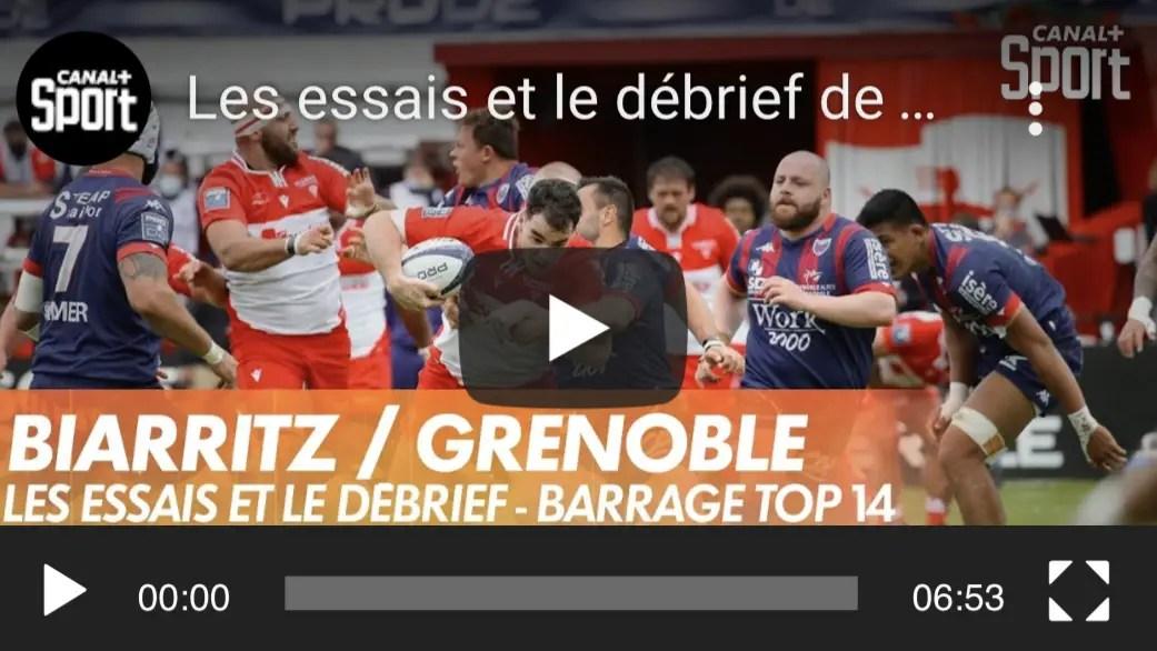 Rugby Pro D2 ( 🎥 Canal + ) : Les essais et le débrief de Biarritz / Grenoble