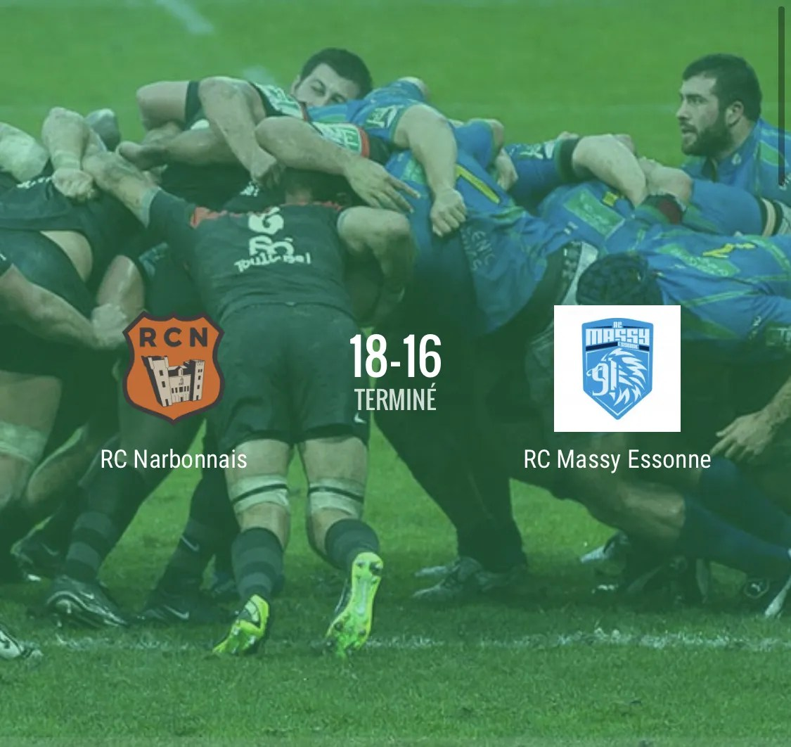 Rugby Nationale : Narbonne – Massy  ( 18 – 16 )